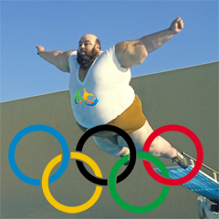 A large man doing a belly flop over Olympic rings.