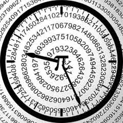 A clock with the number pi on the face