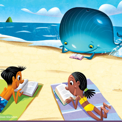 a boy, a girl, and a whale reading on the beach